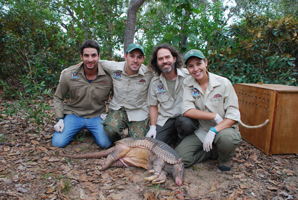 The Pantanal Giant Armadillo Project team (from left to right): Gabriel Massocato, Danilo Kluyber, Arnaud Desbiez, and Renata Santos. Photo by: The Pantanal Giant Armadillo Project.