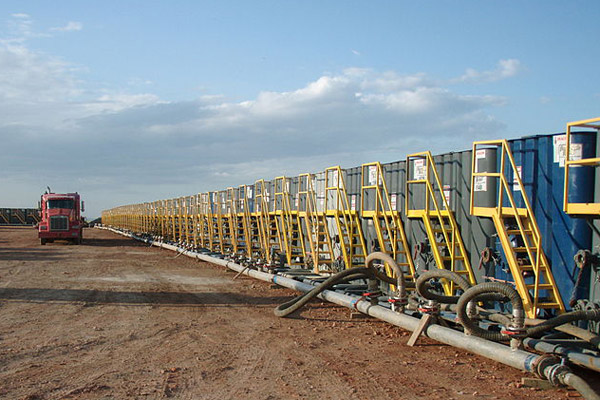 Massive water consumption is another issue that fracking faces. Here, water tanks are readied for fracking.