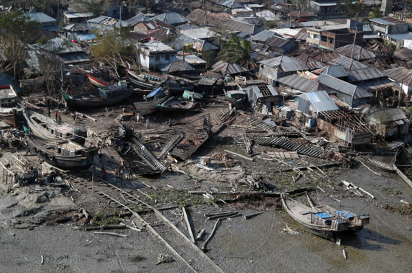 Houses decimated by Cyclone Sidr. The cyclone which hit in 2007 left at least 3,447 dead (though aid groups said as many as 10,000) and caused $1.7 billion in damage. Photo by: Christopher Lange with the U.S. Navy.