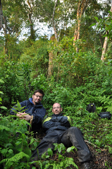 Simon Loader (left) and Michele Menegon (right) in the Uluguru Mountains in Tanzania. Photo by: Vaclav Gvozdik.