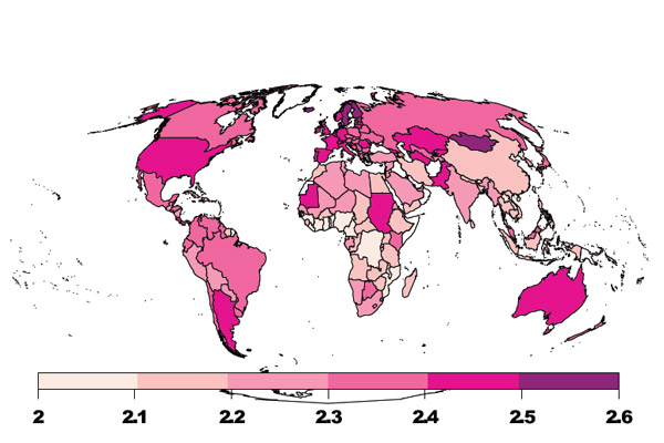 Median trophic levels of various countries 2005-2009. Photo by: Bonhommeau et al.