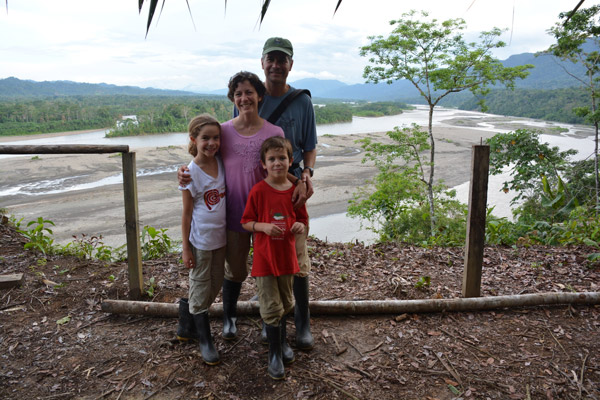 The Kraft family overlooking the Madre de Dios River, Manu Rainforest, Peru. Photo courtesy of the Kraft family.