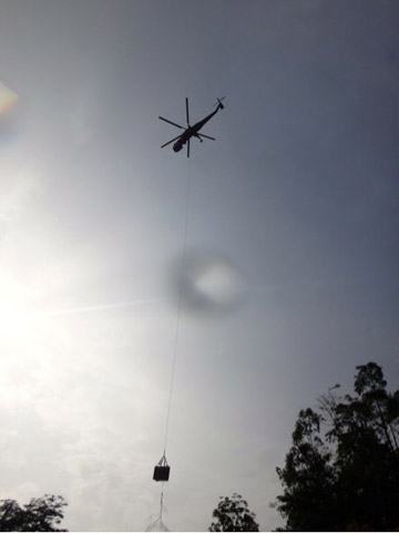 Iman being airlifted out of Danum using a Sirkorsky S64 Sky crane. Photo courtesy of the SWD.