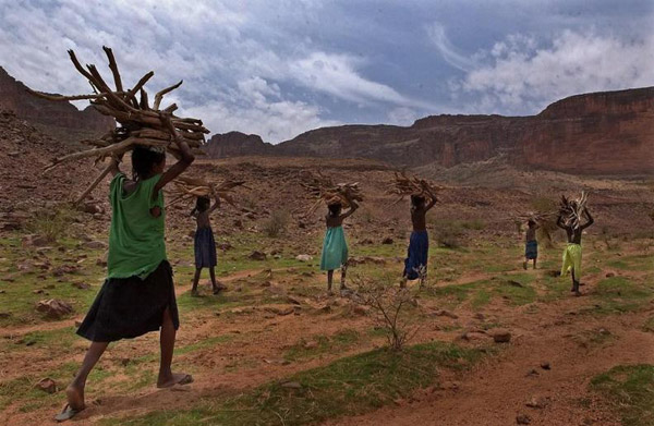 Locals collect firewood in the Gandamia hills. Photo by: Carlton Ward Jr.