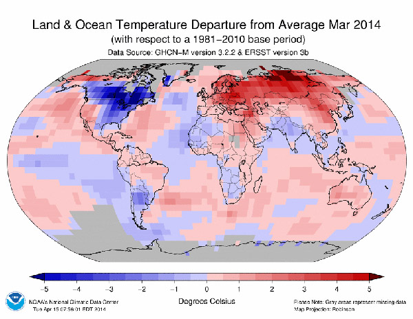 Temperature anomalies in March 2014 as compared to 1981-2010. Map courtesy of NOAA.