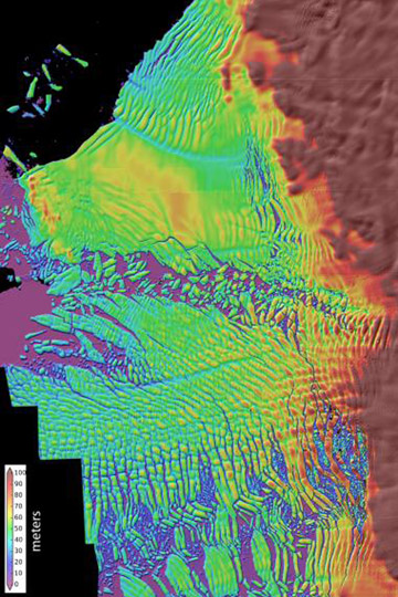 A high-resolution map of Thwaites Glacier's thinning ice shelf. Warm water, driven by stronger winds, is cutting into the bottom of the floating shelf on the glacier. Scientists now believe the glacier's melt is inevitable. Map by: David Shean/University of Washington.