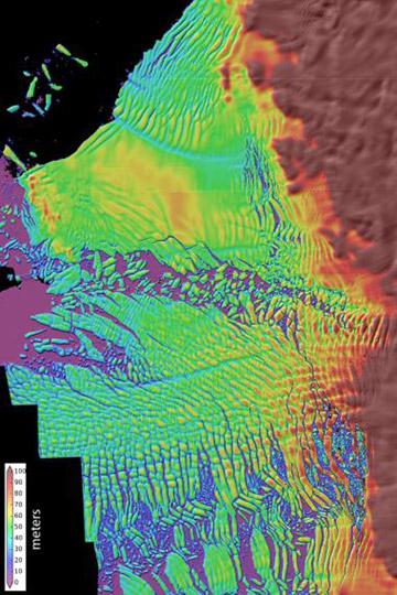Mapa en alta resolución de la capa de hielo del glaciar Thwaites que se está derritiendo. El agua cálida, impulsada por vientos fuertes, está derritiendo la parte inferior de la plataforma flotante del glaciar. Los científicos ahora creen que el derretimiento del glaciar es inevitable. Mapa de: David Shean/Universidad de Washington.