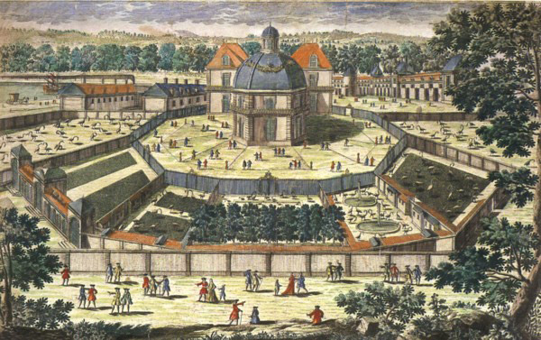 Detail of 18th Century print of the menagerie at Versailles. For most of history, zoos showed off animals still common in the wild. Photo by: Antoine Aveline.