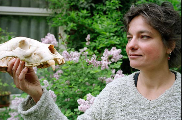 Fredriksson with a bear skull. Photo courtesy of Gabriella Fredriksson.