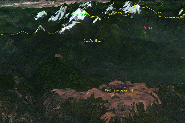 Mappa del Virachey. Immagini tratte da Google Earth.