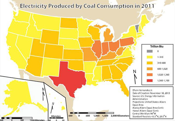 Energy produced by coal power by US state in 2011. Map by: Efrain Hernandez Jr.