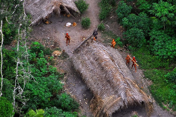 Aerial photo of uncontacted tribe in Brazil. Photo courtesy of the Government of Brazil.