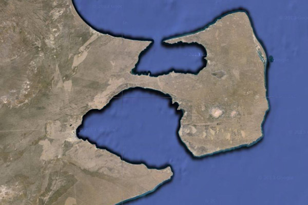 Google Earth image of Península Valdés and Punta Ninfas to the south. Photo courtesy of Google Earth.