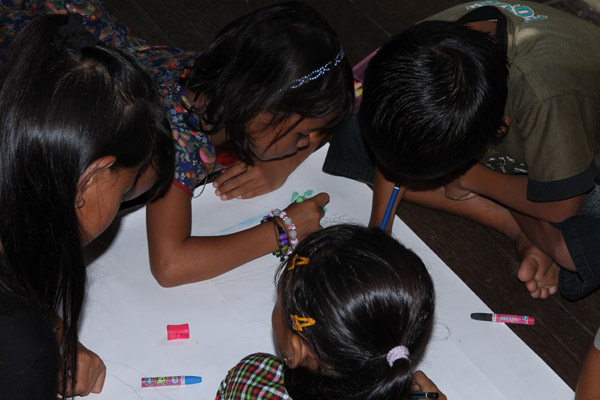 Children in Kalimantan drawing their environmental futures. Photo courtesy of Anne-Sophie Pellier.