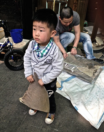 A little boy holds a dried shark fin in China. Prices are plummeting in the trade. Photo by: WildAid/Whitcraft.