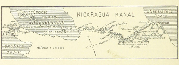 A canal across Nicaragua has been the ambition of wealthy and powerful nations for centuries beginning with the U.S., which almost built it instead of the PanamaCanal. Today, it's a Chinese company that's pushing for the Gran Canal. This is from an old German-language publication, showing a proposed route for the canal that is very similar to the one chosen by HKND. Photo by: The British Library.