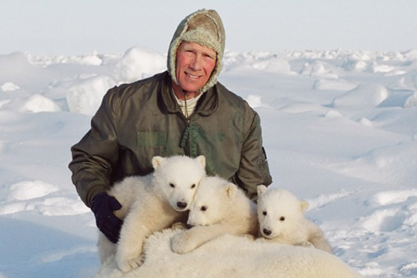 Steven Amstrup with polar bear triplets. Photo courtesy of Steven Amstrup.