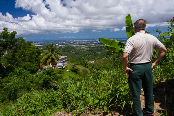 Ariel Lugo overlooking an urban watershed in Puerto Rico. Photo courtesy of Ariel Lugo.