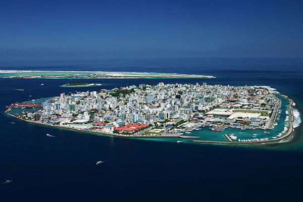 Male, the capital of the Maldives. One of the world's lowest lying island nations, the Maldives is on the front line of rising seas caused by global warming. Photo by: Shahee Ilyas.