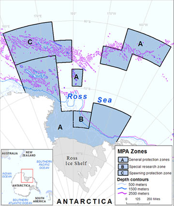 Map of the proposed Ross Sea Region marine protected area, as submitted by the United States and New Zealand for consideration by CCAMLR. The Ross Sea protected area would set aside around 37 percent of the whole. Map by NOAA.
