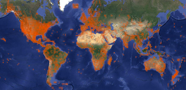 This is what a million observations of species in nature look like mapped out over the world. Image courtesy of iNaturalist.