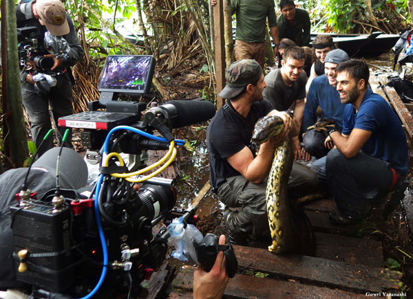 Filming for Eaten Alive. The capture of a 19 foot 200-plus pound anaconda was a great experience for us, and she was the first anaconda to ever ingest a radio transmitter in the Amazon, giving us first-time insights into the movements of large female anacondas in Amazonia. Photo courtesy of Paul Rosolie.