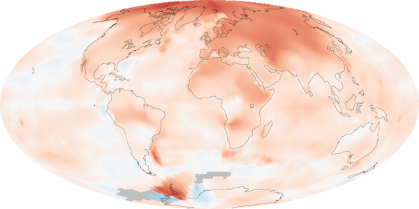 Map shows temperatures from 2000-2009 (the warmest decade on record) as compared to a baseline of 1951-1980. Photo by: NASA.