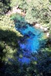 Turquoise blue water of Bonito's Lagoa Misteriosa, a limestone sinkhole