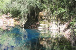 Turquoise blue water of Bonito's 'Mystery Lagoon', a limestone sinkhole