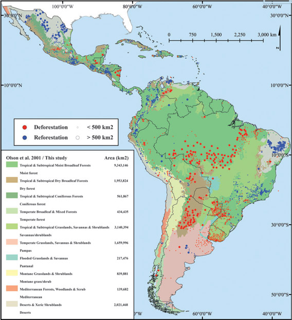 The distribution of hotspots of deforestation and reforestation across Latin America, 2001-2010.