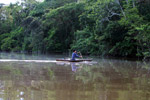 Indigenous man paddling a dugout canoe on a tributary of the Amazon