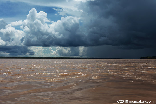 Rain over the Amazon River