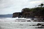 Waves breaking on the ocean-side coastline of Peucang Island [java_0072]
