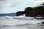 Waves breaking on the ocean-side coastline of Peucang Island [java_0074]