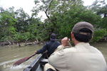 RPU patrol paddling toward Ujung Kulon