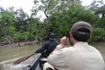 RPU patrol paddling toward Ujung Kulon