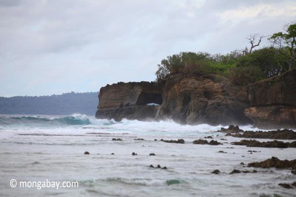 Waves breaking on the ocean-side coastline of Peucang Island [java_0073]