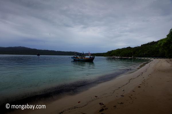 Boat near a beach on Peucang Island
