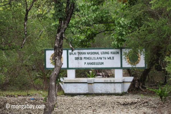 Sign for P. Handeuleum in Ujung Kulon [java_0269]