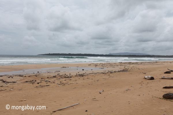 Indian ocean waves breaking on a beach in Ujung Kulon [java_0317]