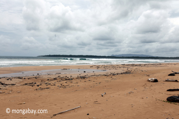 Indian ocean waves breaking on a beach in Ujung Kulon