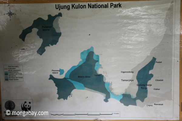 Map of Ujung Kulon National Park