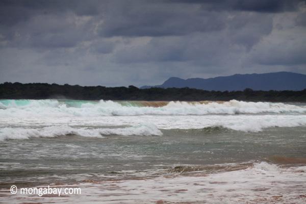 Breaking surf in West Java