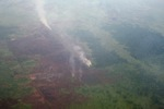 Aerial vew of burning peatlands in Indonesia's West Kalimantan province