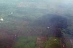 Airplane vew of cleared peatlands in Indonesia's West Kalimantan province
