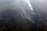 Airplane vew of burning peatlands and forest in Indonesian Borneo [kalbar_1261]
