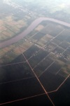Aerial view of oil palm plantations