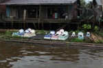 Coffins along the river in Banjarmasin