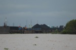 Coal barge on the Barito river in Borneo