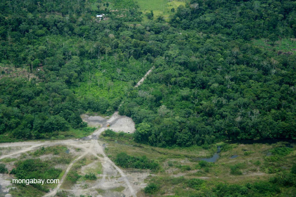 Settlement and fragmented forest along road in Ecuadorian Amazon